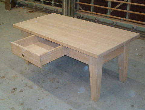 fabrication de table basse en chêne