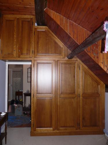 Bibliotheque et d'un placard sur mesure en chêne brun à cahaigne proche des thilliers en vexin 27